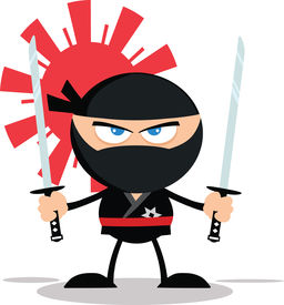 picture of chibi  - Angry Ninja Warrior Cartoon Mascot Character With Two Katana Flat Design  Illustration Isolated on white - JPG