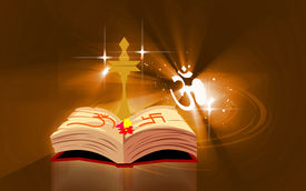 pic of mahabharata  - Illustration of a divine lamp and religious book - JPG