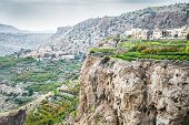 stock photo of jabal  - Image of landscape Saiq Plateau and terrace cultivation in Oman - JPG