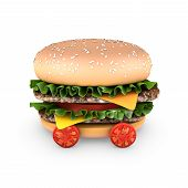 stock photo of hamburger-steak  - A hamburger with double steak salad and cherry tomatoes - JPG