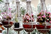 pic of planters  - Winter snow on patio deck with hanging planters outdoors. ** Note: Soft Focus at 100%, best at smaller sizes - JPG