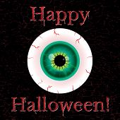 picture of grotesque  - halloween greeting card with eyeball and grunge eggect - JPG