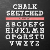 picture of alphabet  - Chalk sketched font - JPG