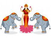 image of laxmi  - Hindu mythological Goddess Laxmi giving blessings on occasion of Hindu community festival Diwali celebrations - JPG