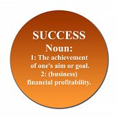 stock photo of nouns  - Dictionary definition of succes on orange button isolated on white background - JPG