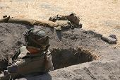 Army Soldier In Foxhole