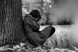 picture of cry  - Sad woman crying after break up in the park - JPG