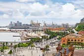 image of christopher columbus  - Panorama on Barcelona city from Columbus monument - JPG