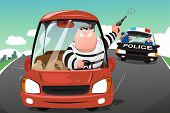 stock photo of chase  - A vector illustration of police chasing criminals in a car on the highway - JPG