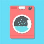 stock photo of laundromat  - red washing machine in flat style - JPG