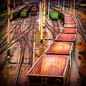 stock photo of boxcar  - sorting industrial railway station wagons and compositions - JPG