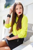 picture of straight jacket  - Beautiful girl oriental appearance - JPG
