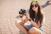 foto of denim wear  - Beautiful oriental girl brunette with long straight hair - JPG