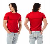 picture of t-shirt red  - Photo of a man wearing blank red t - JPG