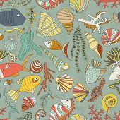 image of shell-fishes  - Vector seamless pattern with hand drawn fishes - JPG