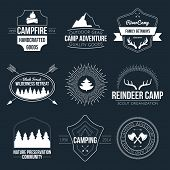 pic of tent  - Set of vintage camping and outdoor activity logos - JPG