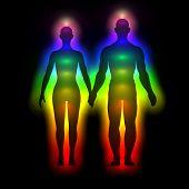 foto of aura  - Illustration of rainbow silhouette of human body with aura  - JPG