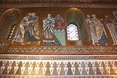 pic of church interior  - Detail Interior of the famous Cappella Palatina in the Palazzo Reale in Palermo in Sicily Italy - JPG
