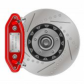 picture of calipers  - Vector illustration of brake disc with caliper on a white background - JPG