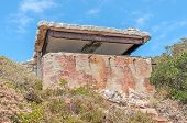 stock photo of derelict  - Derelict military observation post from World War II at Cape Point in the Table Mountain National Park in Cape Town South Africa - JPG