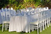 stock photo of wedding table decor  - Outdoor wedding table set up for wedding - JPG