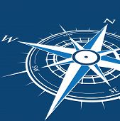 foto of compass rose  - a blue compass on a prospective background - JPG