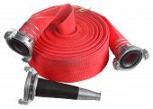 stock photo of firehose  - Fire Fighter Industry Red Fire hose winder roll reels fire fighting hose are used for high pressure water spraying with aluminum nozzle and connecting coupler isolated object on white background - JPG
