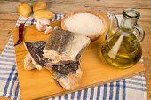 foto of cod  - Main ingredients to cook a traditional Mediterranean cod stew - JPG