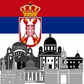 image of serbia  - The national flag of the Serbia and the contour image of architectural landmarks of this country - JPG