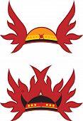 foto of shogun  - Image of abstract red helmet with wings - JPG