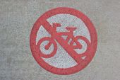 stock photo of radium  - Street Sign for Cycling Prohibition on Pathway - JPG