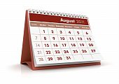 image of august calendar  - 3D Render desktop calendar in white background - JPG