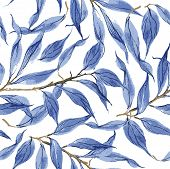 pic of pattern  - Blue leaves vector watercolor texture pattern - JPG