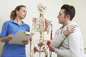 picture of injury  - Male Patient Describing Injury To Female Osteopath - JPG
