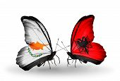 pic of albania  - Two butterflies with flags on wings as symbol of relations Cyprus and Albania - JPG