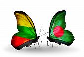 stock photo of bangladesh  - Two butterflies with flags on wings as symbol of relations Lithuania and Bangladesh - JPG