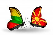 pic of macedonia  - Two butterflies with flags on wings as symbol of relations Lithuania and Macedonia - JPG