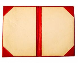 picture of passport cover  - old passport cover yellow red white brown - JPG
