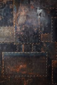 foto of rusty-spotted  - Scratched and spotted a rusty metal background - JPG