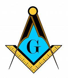 stock photo of freemasons  - color freemason symbol illustration isolated on white background - JPG
