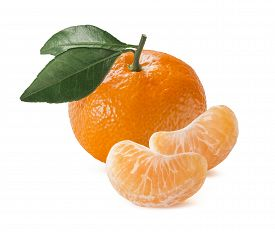 stock photo of mandarin orange  - Single orange mandarin tangerine with leaves and slices isolated on white background as package design element - JPG