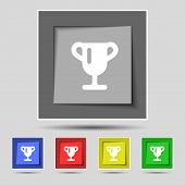 picture of winner  - Winner cup Awarding of winners Trophy icon sign on the original five colored buttons - JPG