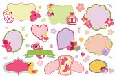 Постер, плакат: Newborn Baby girl badges labels set Baby shower