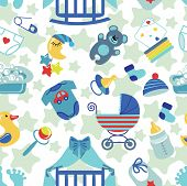 Постер, плакат: Newborn Baby boy seamless pattern