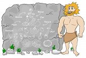 picture of cave-dweller  - vector illustration of a cave man explains paleo diet using a food pyramid drawn on stone  - JPG