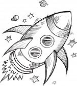 foto of outer  - Doodle Sketch Rocket Outer space Vector  - JPG