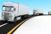 picture of delivery-truck  - White Trucks on freeway - JPG