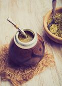pic of mating  - Vintage photo of traditional yerba mate tea popular in latin america