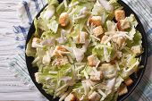 picture of caesar salad  - Traditional Caesar salad with croutons and parmesan close - JPG