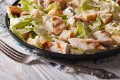 stock photo of caesar salad  - Caesar salad with grilled chicken close - JPG